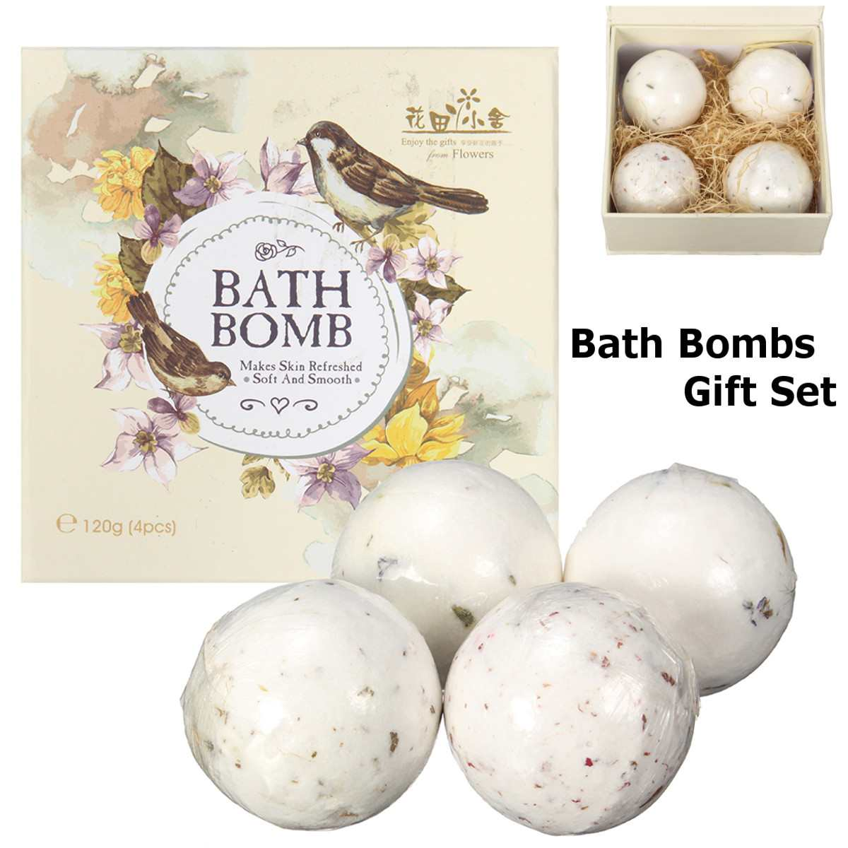 4Pcs/set Aromatherapy Bath Bombs For Adults And Kids Bubbles Moisturizing Relaxing Spa Balls Refresh Skin Soft Smooth Bath Care