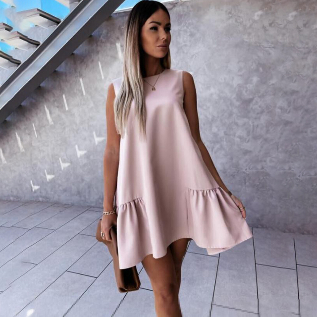 Summer Women Mini Dress Casual Loose Beach Party Dress Big Ruffle Sleeveless Sundress Female 2021 Fashion Oversize Hem Dresses 2