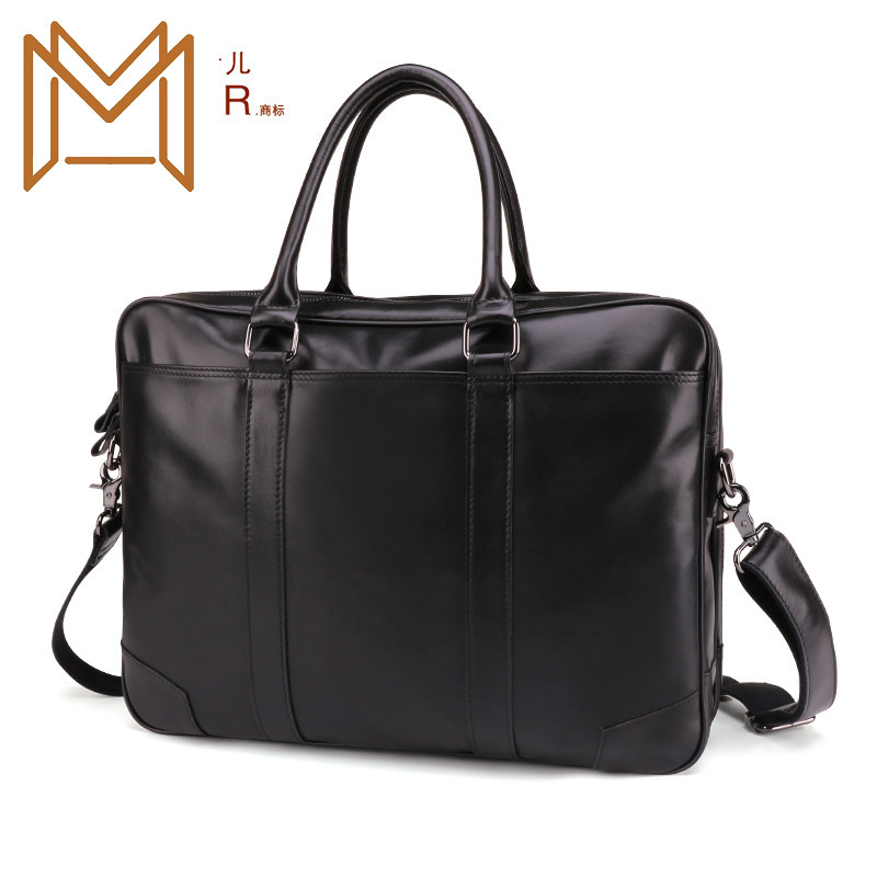 Capacity Genuine Leather Briefcase Leisure Time Man Handbag 15.6 Inch Messenger Computer Package Business Affairs Male