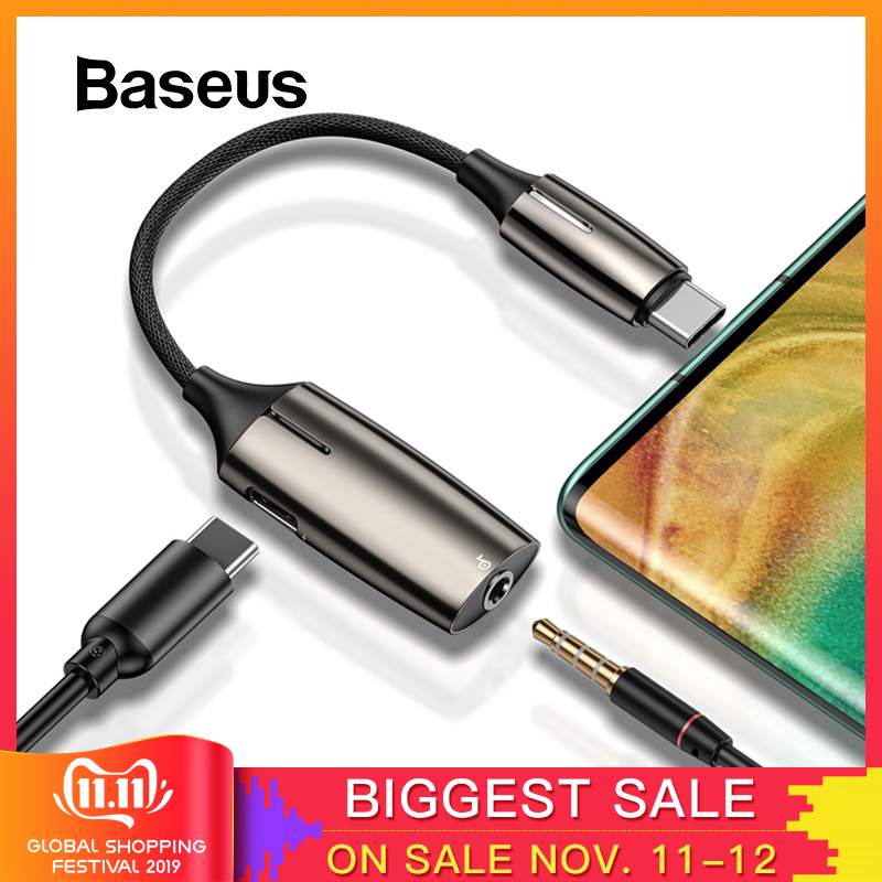 Baseus L60 USB C To 3.5mm Aux Audio Adapter Usb Type C Extension Cable With Light Interface 1 To 2 For Samsung Huawei P30 Pro