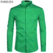 Мужская приталенная рубашка с воротником стойкой, зеленая Повседневная рубашка с длинными рукавами, воротником на пуговицах и карманом, Осень зима 2019