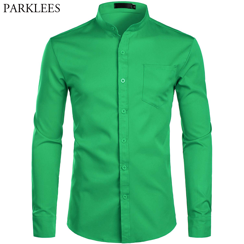Men's Banded Collar Green Dress Shirts 2019 Brand New Slim Fit Long Sleeve Shirt Men Casual Button Down Shirt With Pocket S-2XL