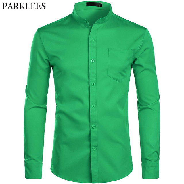Mens Banded Collar Green Dress Shirts 2019 Brand New Slim Fit Long Sleeve Shirt Men Casual Button Down Shirt with Pocket S 2XL