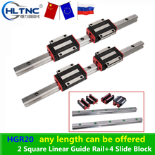 RU ES GHH20 HR20 HGR20 HB20 20mm Square Linear Guide Rail+4 Slide Block Carriages HGH20CA/ HGW20CC for CNC Router Engraving
