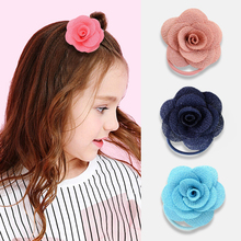 Lovely Girls Flower hair accessories Multi-layer three-dimensional large rose ring Elastic Rubber headband rope