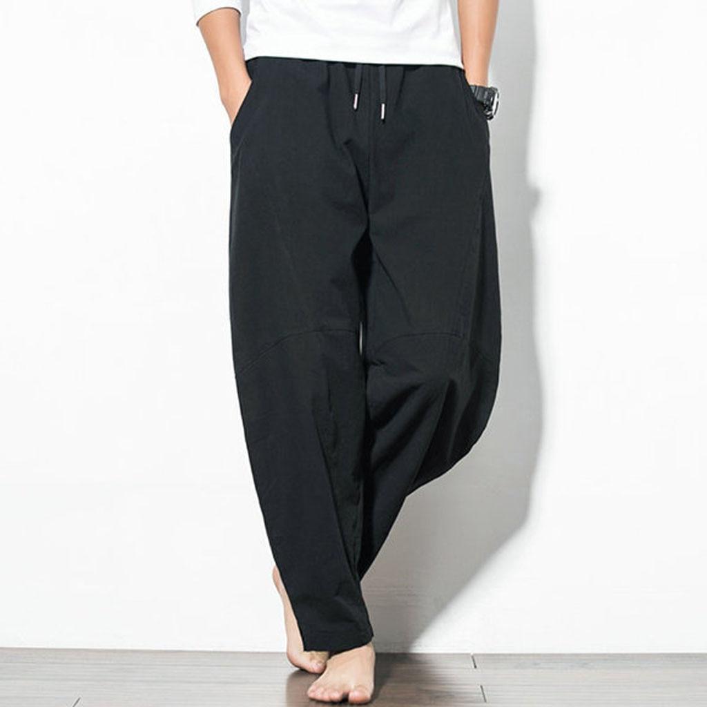 Cotton Linen Mens Harem Pants Summer Male Casual Calf-Length Pants 2019 Solid Big Pocket Baggy Pants Trousers  7.12
