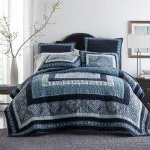 CHAUSUB, толстое хлопковое покрывало, Стёганое одеяло, набор из 3 предметов, синее лоскутное одеяло ручной работы, Стёганое одеяло, s покрывало, наволочка, покрывало King size