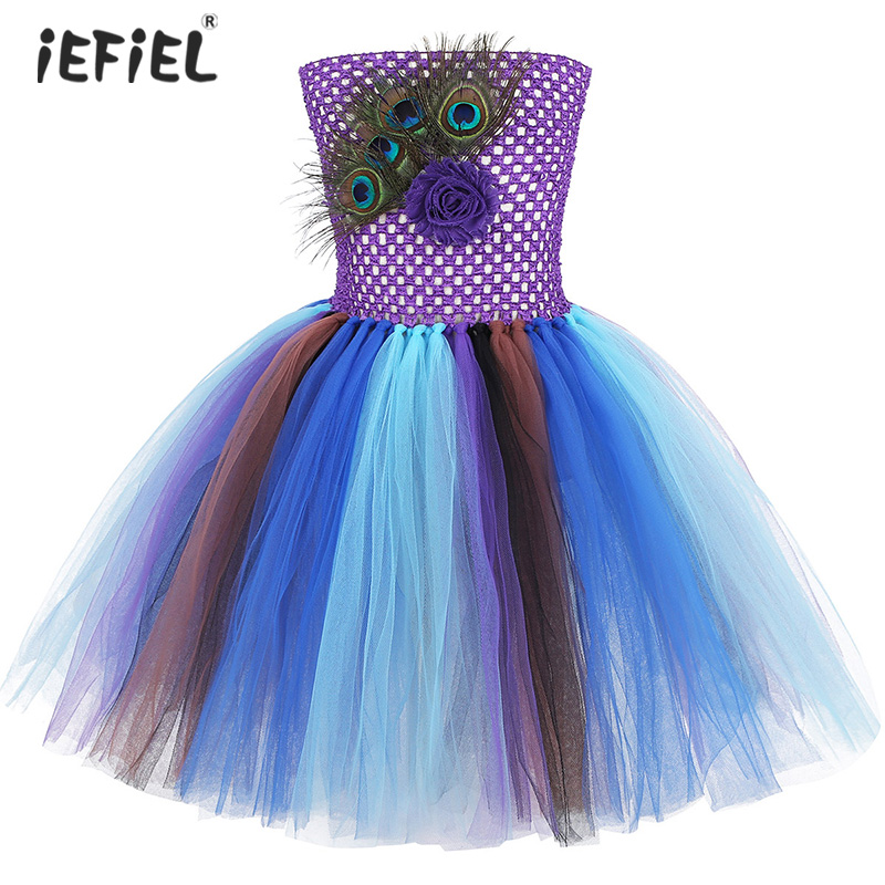 New Kids Girls Peacock Feather Princess Costume Tutu Mesh Dress for Christmas Carnival Halloween Birthday Theme Party Tutu Dress 1