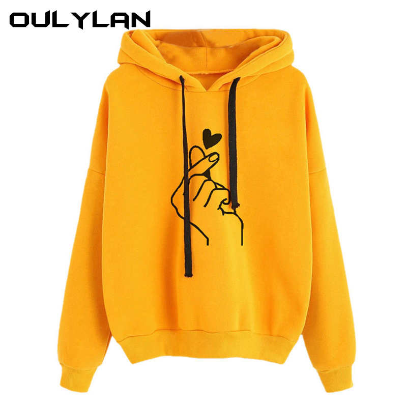 Oulylan Women Hoodies Casual Print Solid Loose Drawstring Sweatshirt Ladies Long Sleeve Hooded Autumn Female Pullover