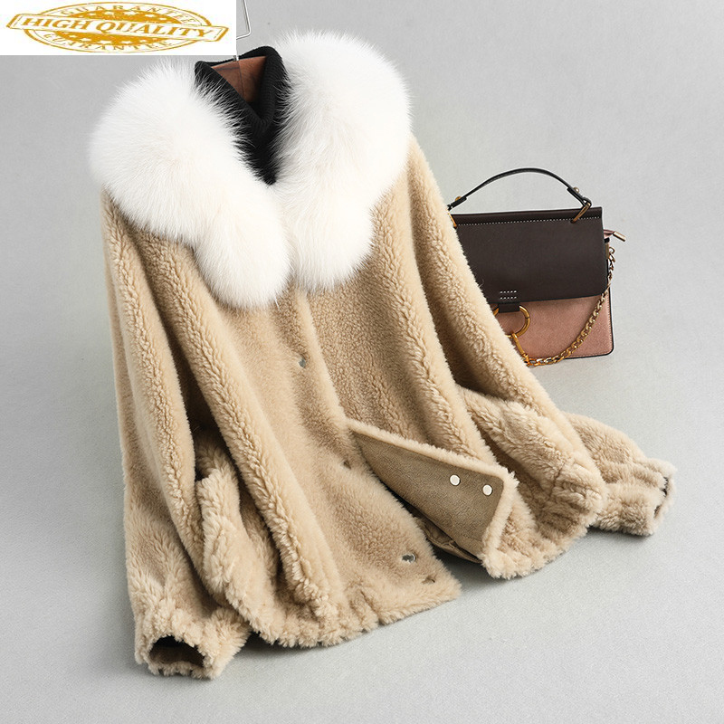 Real Fur Coat Female Fox Fur Collar 100% Wool Coats 2020 Autumn Winter Jacket Women Korean Outwear Casaco Feminino MY