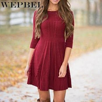 WEPBEL Women's Casual Long Sleeve O-Neck High Waist Loose Knitted Dress Autumn Winter Fashion Solid Color Long Sweater 2019 spring new women half sleeve loose flavour black dress long summer vestido korean fashion outfit o neck big sale costume