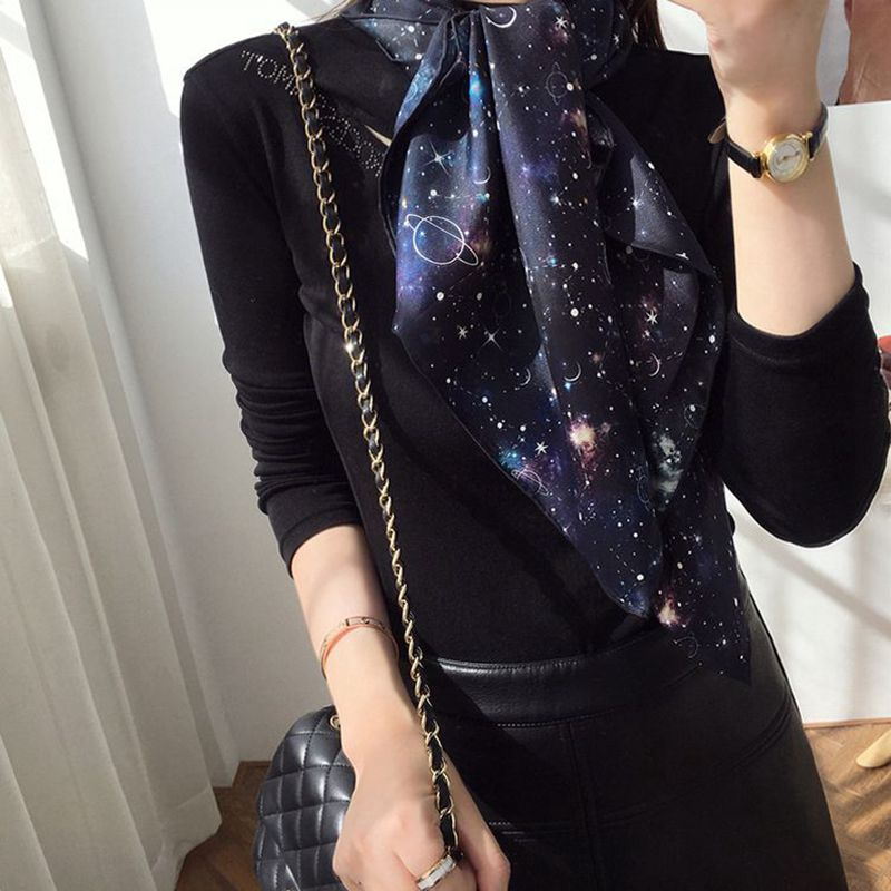Star Print 100% Silk Scarf Shawl Wraps Women Charming Fashion Scarves Foulard 88x88cm