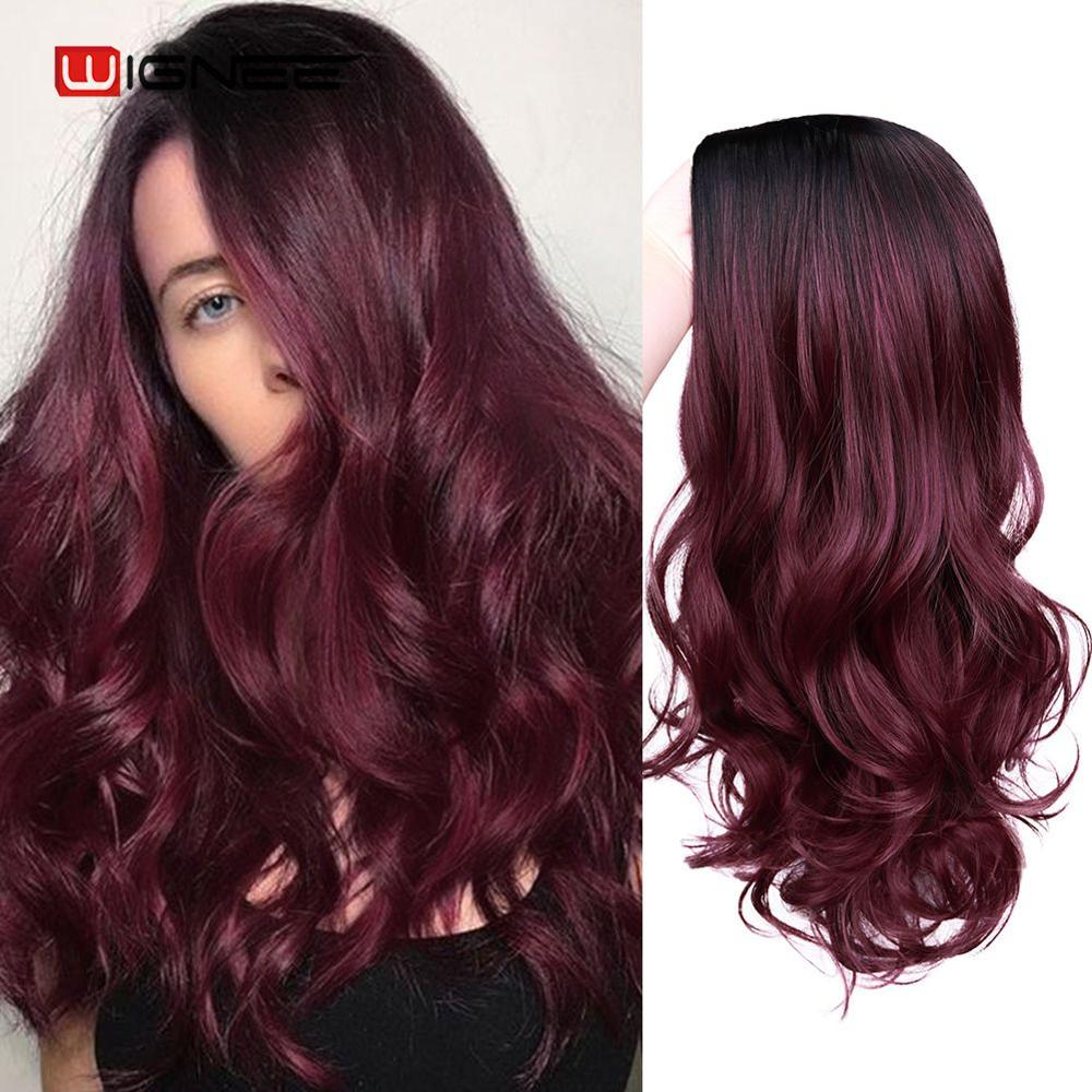 Wignee 2 Tone Ombre Burgundy Middle Part Long Wavy Synthetic Wigs For Black/White Women Glueless  Daily/Cosplay Fake Hair Wigs
