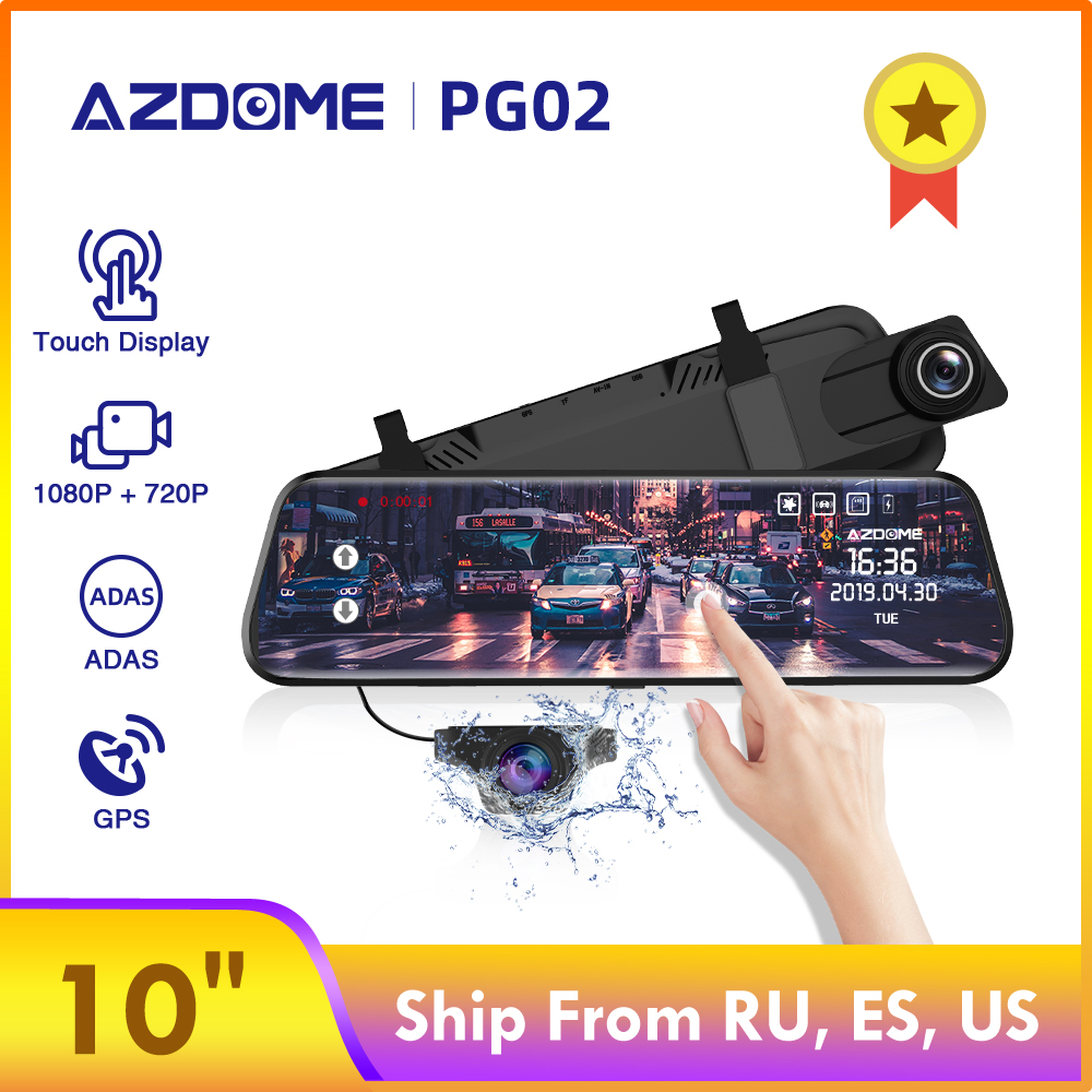 "AZDOME PG02 10"" Streaming Media Mirror Dash Cam Full Screen Touching Dual Lens Night Vision 1080P Front 720P Backup Car DVR ADAS