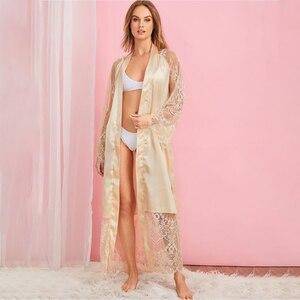 Image 2 - Grande taille Sexy pyjama Robe Lingerie avec Robe à manches longues dentelle chemise de nuit avec ceinture vêtements de nuit Satin femmes demoiselle dhonneur peignoir