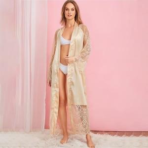 Image 2 - Plus size Sexy Pajama Dress Lingerie with Robe Long Sleeve Lace Nightgown with Belt Sleepwear Satin Women Bridesmaid Bathrobe