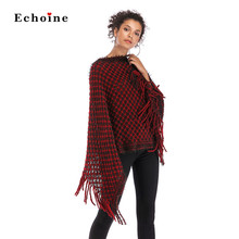 Echoine Women Fashion Knit Tassel Shawl Batwing Sleeve Irregular Sweater Slash Neck Outwear Pullover Tops Loose Street Clothes