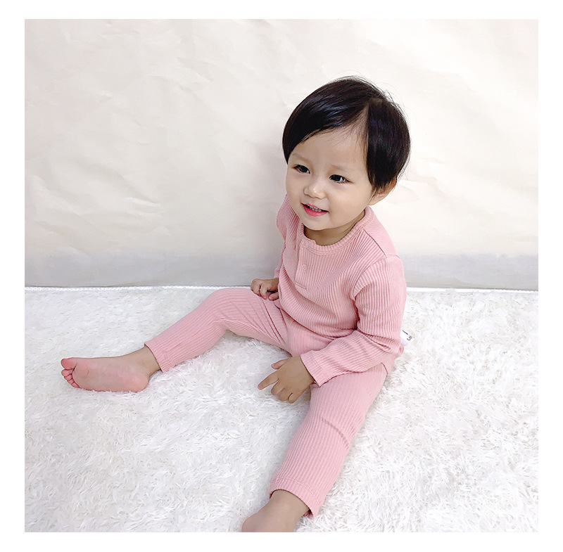Soft Ribbed Toddler Girl Pajamas For Baby Boys Clothes Set Autumn Winter Children Outfits Long Sleeve Tops Pants 2 Pcs Kids Suit (16)