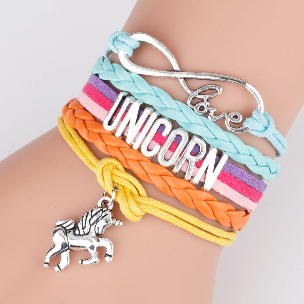 Unicornes Armbänder Mode Regenbogen Mädchen Make-Up Spielzeug Kinder Kinder Cartoon Armband Perlen Kette Weihnachten Geschenke