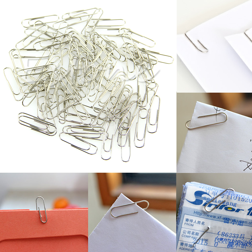 1 Set 100Pcs New Office Plain Steel Paper Clips 29mm Paperclips Metal Silver DXAC