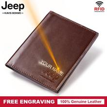 Free Engraving Leather Passport Cover ID Business Card Holder Travel Credit Wallet for Men Purse Case Driving License Bag Thin(China)