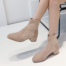 Fashion Women Chelsea Ankle Boots Female Kid Suede Square Heeled AJ629