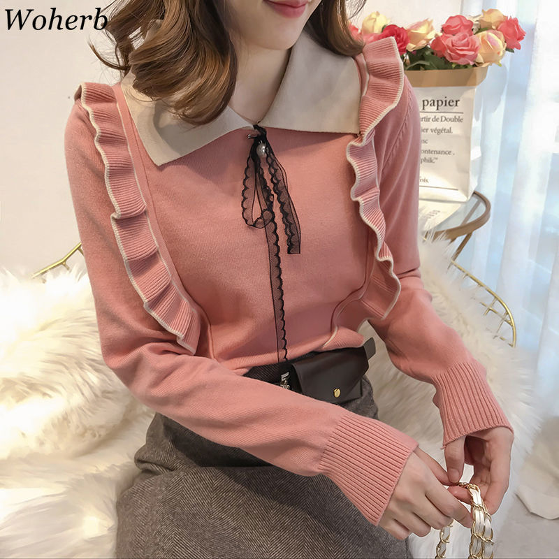 Woherb Pull Femme Ruffles Patchwork Knit Pullovers Turn Down Collar Long Sleeve Sweater Women Sweet Fashion Korean Style 91513