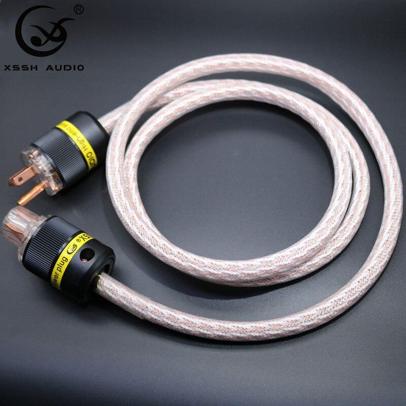 Xssh Audio HIFI 12TC câble d'alimentation de haute qualité 6N OCC cordon d'alimentation Hifi avec prise américaine pour amplificateur DVD multimédia