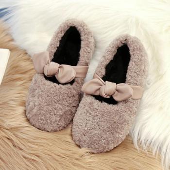 Zapatillas de invierno ULKNN con lazo para niños pequeños, bebés, niños, cálidos zapatos para suelo de Interior de piel, Zapatillas de casa suaves a la moda para niños