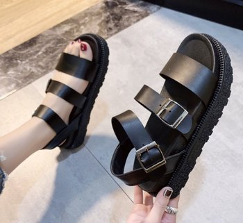 Summer shoes woman Flat Platform Sandals Women Soft Leather Casual Open Toe Gladiator wedges Women Shoes aimeigao summer wedges platform women sandals square thick heel pu leather shoes soft bottom mixed colors shoes for women