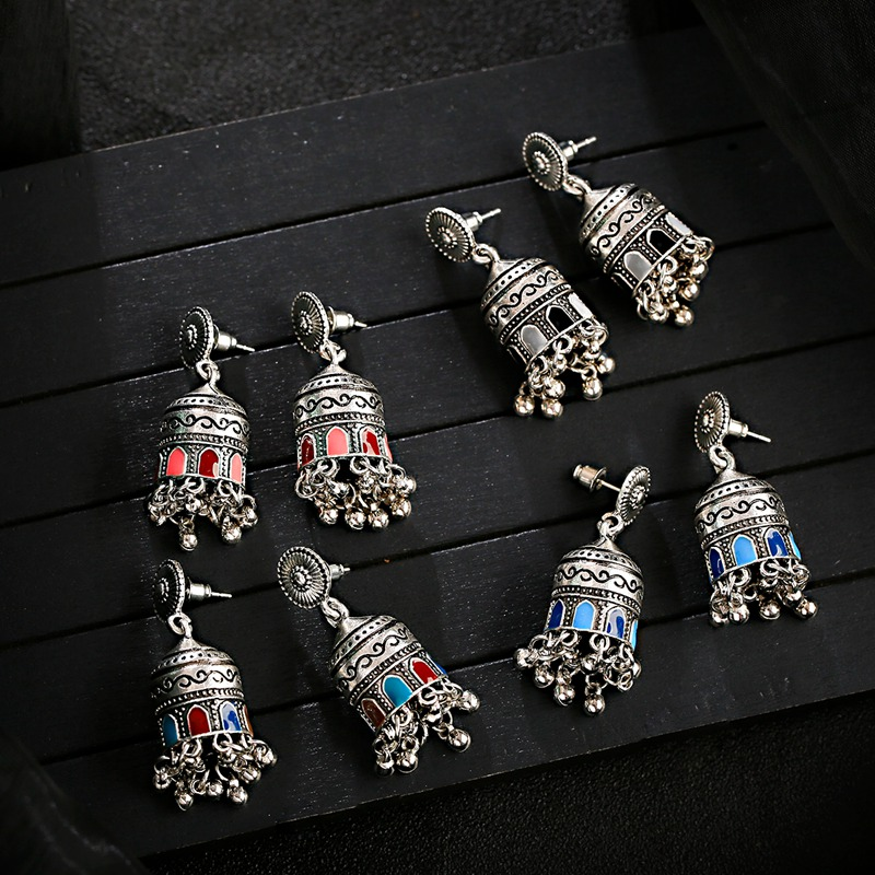 H97d699e6468143b6abede68d8b1a64d6q - Retro Bollywood Oxidized Womens Jewellery Ethnic Silver Plated Afghan Bell Tassel Drop Jhumka Indian Earrings Wedding Jewelry