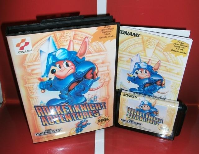 Rocket Knight aventures US couverture avec boîte et manuel pour Sega Megadrive Genesis Console de jeu vidéo 16 bits carte MD