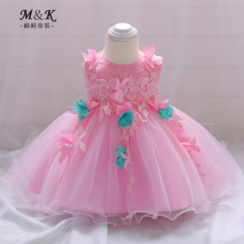 2019 New Style Infant Pink Floral Lace Formal Dress Baby Girls A Year Of Age Hundred Days Wedding Dress Princess Dress Cotton