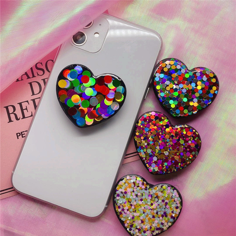 Heart-shaped Color Powder Universal Mobile Phone Ring Holder Airbag Air Bag Folding Bracket For IPhone X XR Samsung Huawei Xiaom