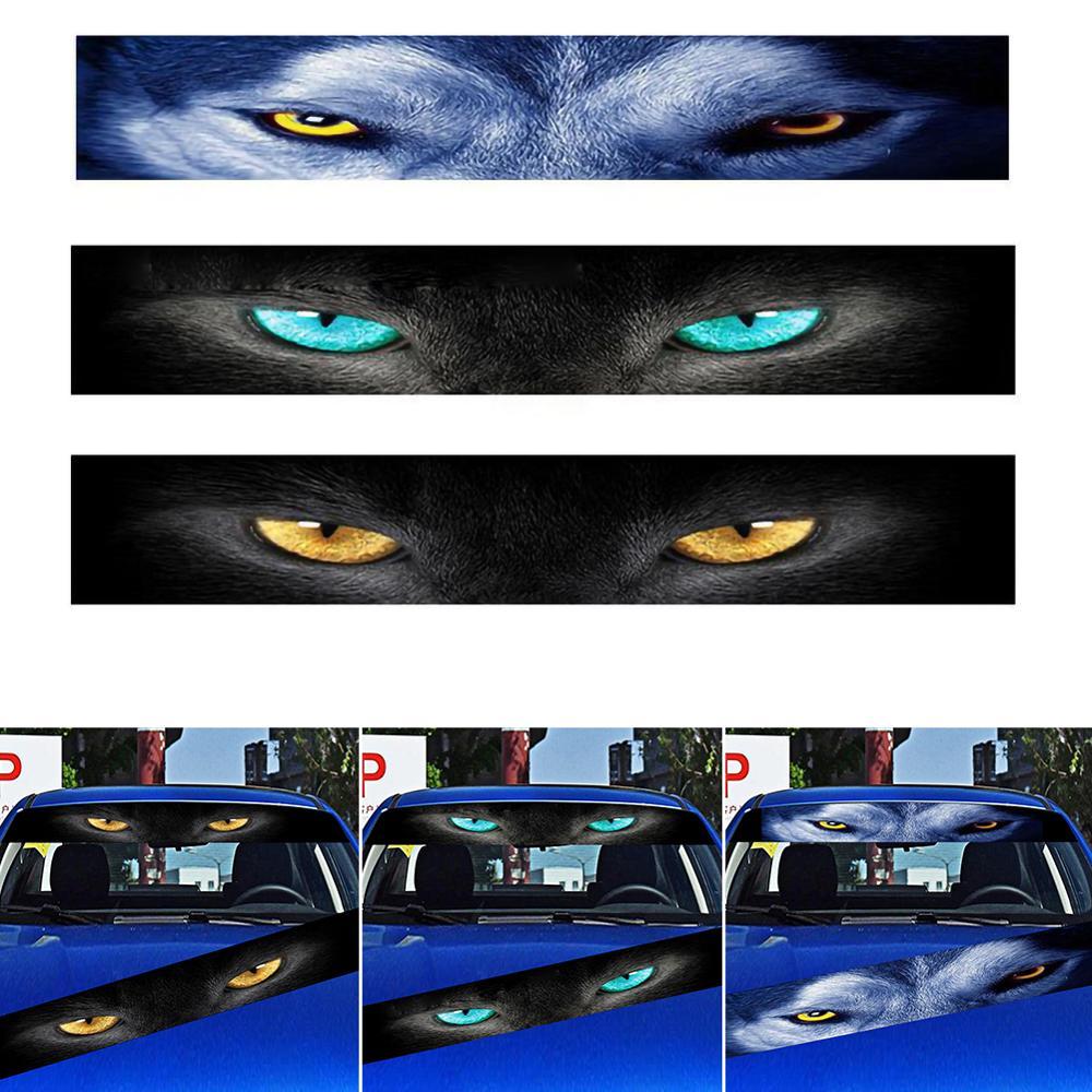Car Front Windshield Sticker Rear Auto 3D Sunshade Stickers Terrorist Decor Front File Wolf Cat Eyes Sticker Decorative 130*21cm