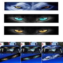 Pára-brisa dianteiro do carro adesivo traseiro auto 3d pára-sol adesivos decoração terrorista frente arquivo lobo gato olhos adesivo decorativo 130*21cm
