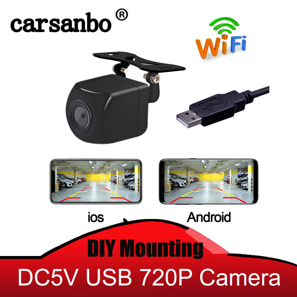 Carsanbo Wifi Wireless Car Rear View Reverse Backup Camera Front View Camera USB Power Supply 5V Power With IOS / Android Phone