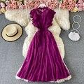 Женское винтажное Кружевное платье миди, фиолетовое/зеленое/Красное Облегающее Платье с круглым вырезом и оборками, весна-осень 2021
