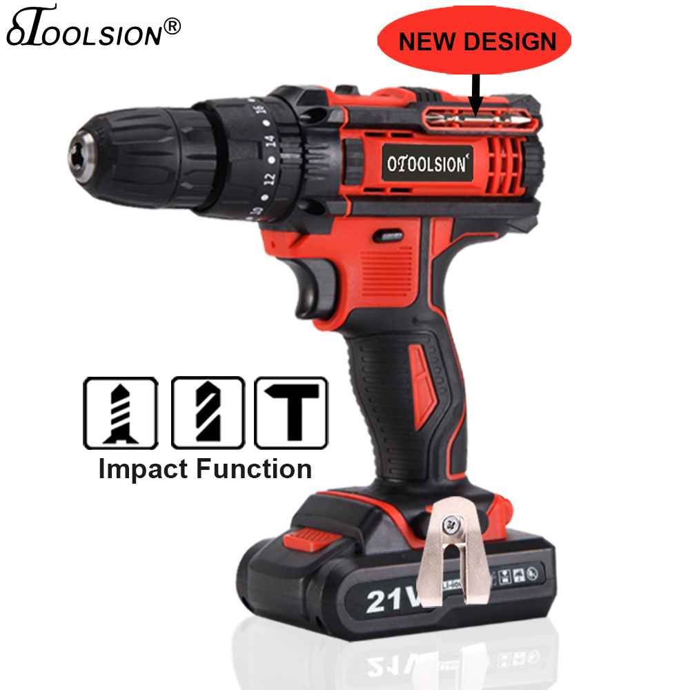 Two Speed 21V Impact Cordless Screwdriver Hammer Drill Battery Drill Power Tools Drill Hammer Cordless Hand Drill+ Drill Parts