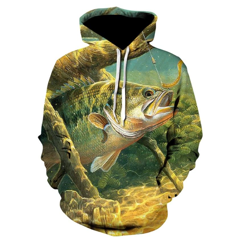 EspTmall Printed Hoodie 3D Hoodies Men Fish Sweatshirts Tracksuit Streetwear Jacket Animal Pullover Funny Coat Picture Color XXXL