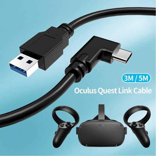 3メートル/5メートルのための充電ケーブルアキュラスクエスト/2リンクvrヘッドセットusb 3.1タイプcデータ転送USB Aタイプcケーブルvrアクセサリー