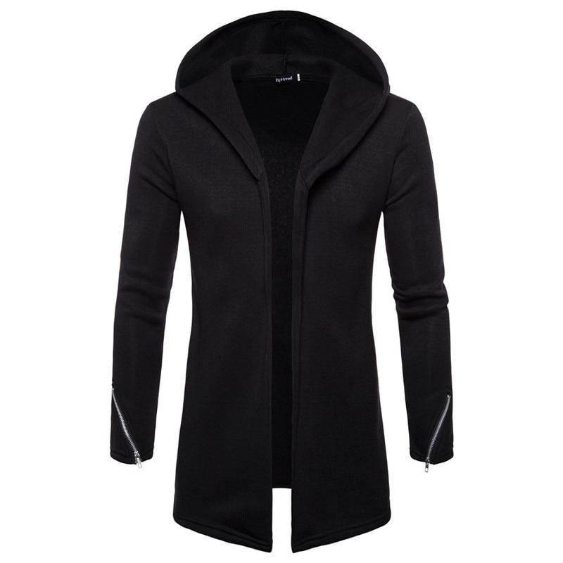 גברים של אופנה מעילי Mens סלעית מוצק רוכסן תעלת מעיל מעיל קרדיגן ארוך שרוול להאריך ימים יותר חולצה מעיל מוצק צבע סלעית