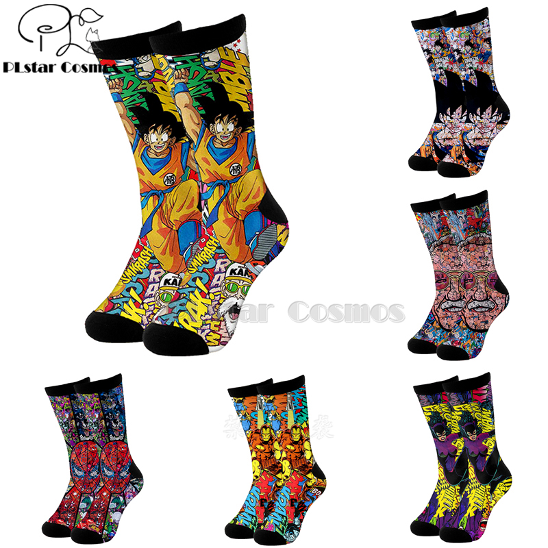 Plstar Cosmos Comic Marvel Iron Man Dragon Ball Deadpool  Cotton Socks Cartoon 3d Print Socks High Socks Men Women High Quality