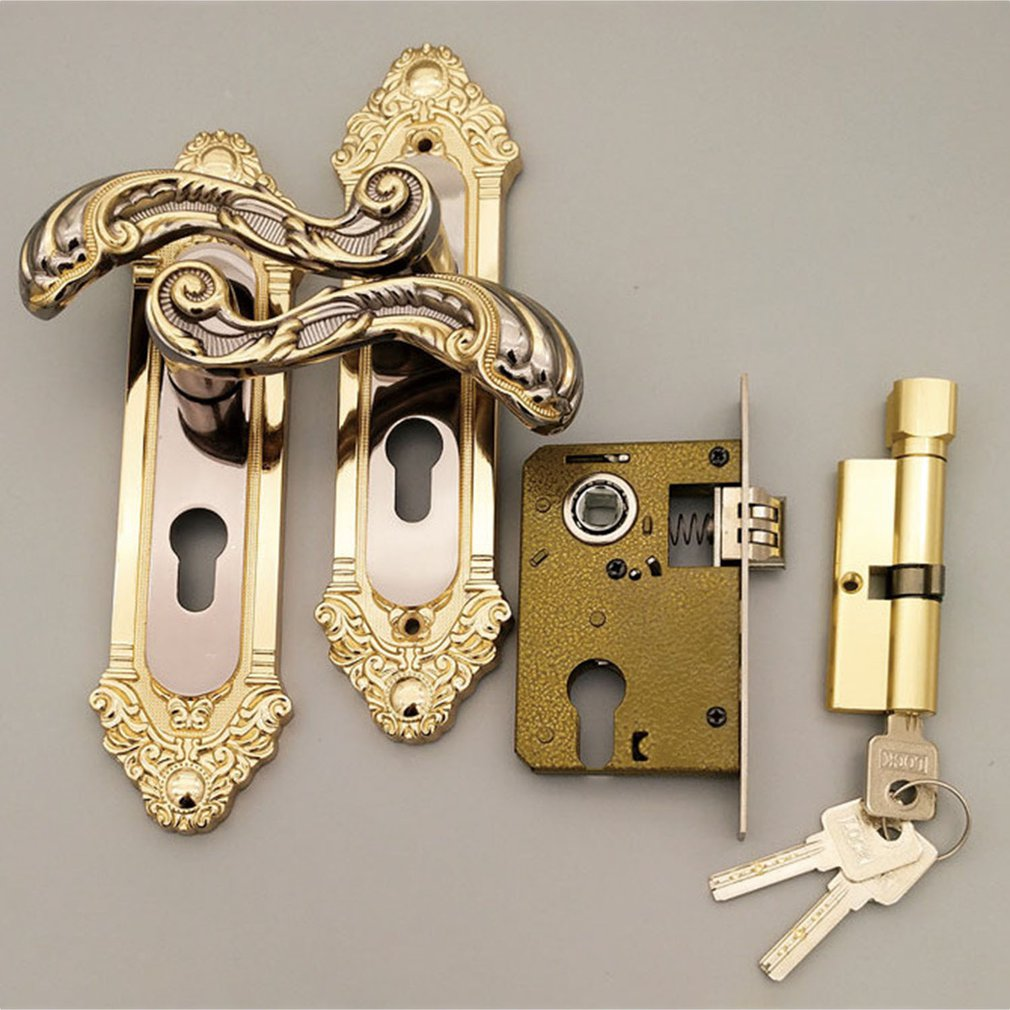 Minimalist Zinc Alloy Door Locks Continental Bedroom Interior Door Handle Lock Cylinder Security Mute Door Lock Household