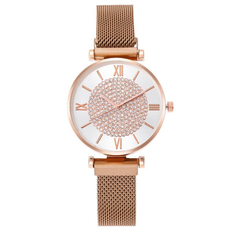 Relógio feminino, relógio de luxo para mulheres relógios de pulso de quartzo relógios magnéticos para mulheres relógio de cristal presentes de festa