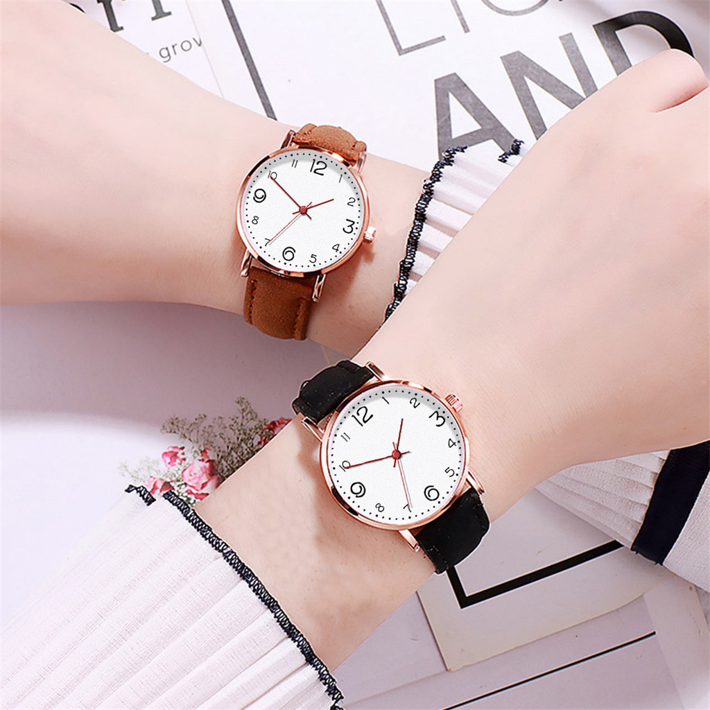 Simple Fashion Women Watches Ladies Watch Casual Pink Black Leather Wrist Watch Girl Student Clock часы женские reloj mujer /d