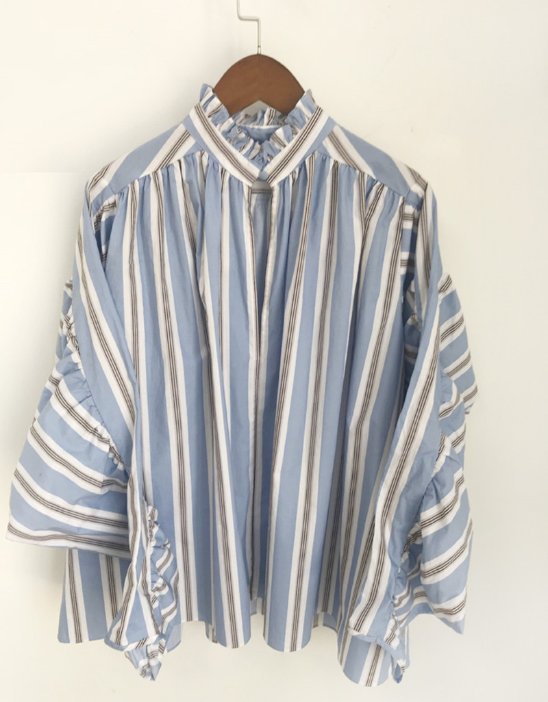Early autumn new Women blouse pleated ruffled collar  loose puff sleeve ladies shirt striped fashion blouse and tops