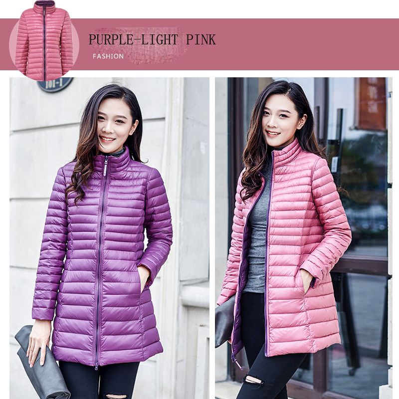 Ultra Ligh Down Jacket Women Double-sided Wearing Plus Size 4xl Thin Long Coats Ladies Jackets Abrigos Mujer KJ437