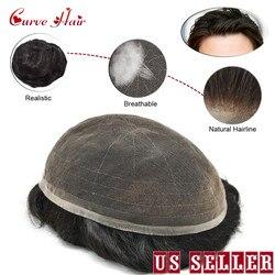 Completo laço francês masculino peruca várias cores preto cinza marrom loiro durável e confortável cabelo humano