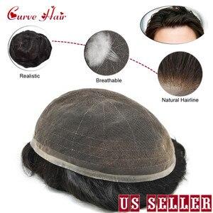 Полноценный французский кружевной мужской парик различные цвета черный серый коричневый блонд прочные и удобные человеческие волосы мужс...